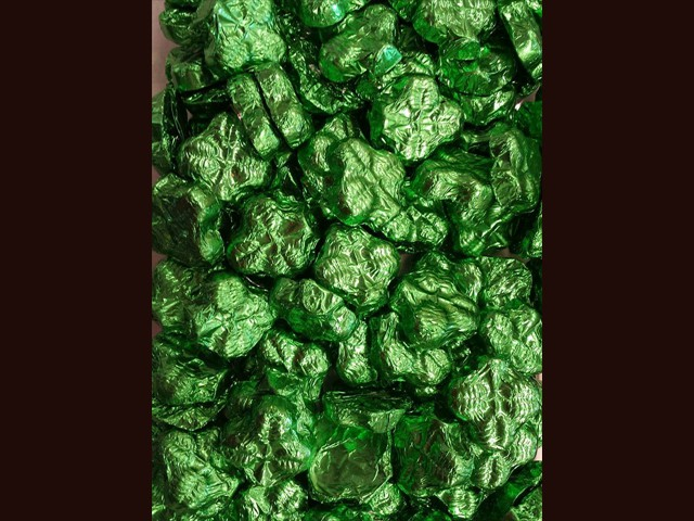 foil wrapped chocolate shamrocks